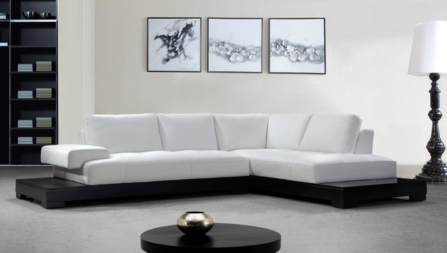 White Leather Sectional Sofa With Built In End Tablesmodern Living Room Los Angeles