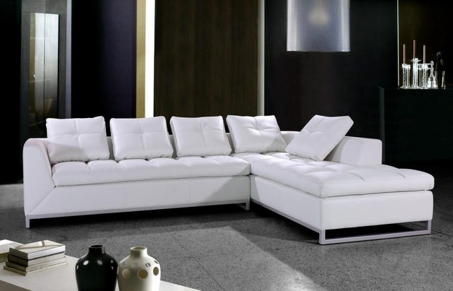White Leather Sectional Sofa with Chrome Legs Modern Living Room