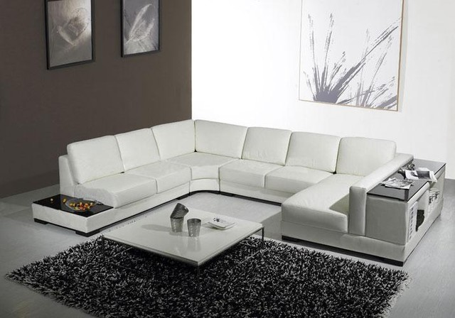 White Leather U Shaped Sectional Sofa With Storage