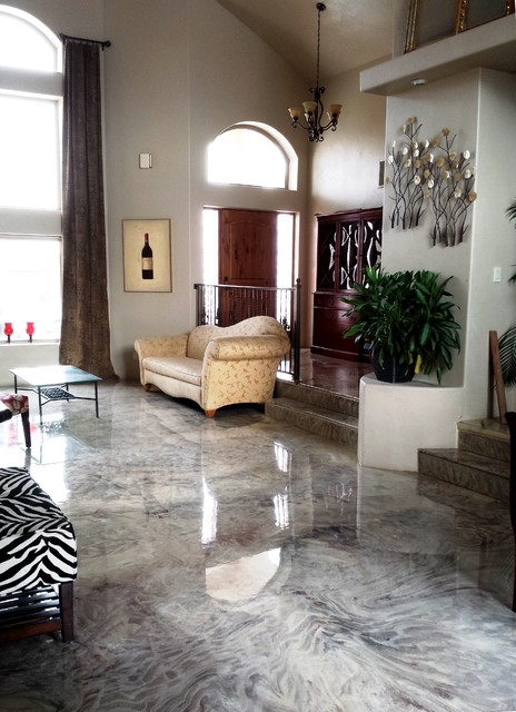 White Marble Flooring Victorian Living Room Other