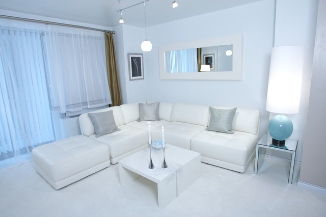 White Modern Design - Contemporary - Living Room - New York - by ...