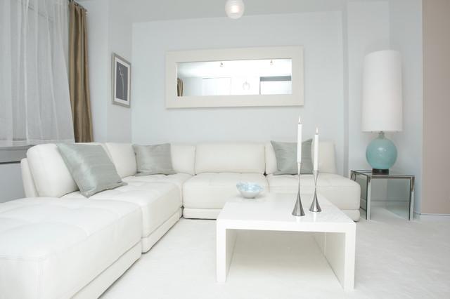 White Modern Design - Contemporary - Living Room - New York - By Marie Burgos Design