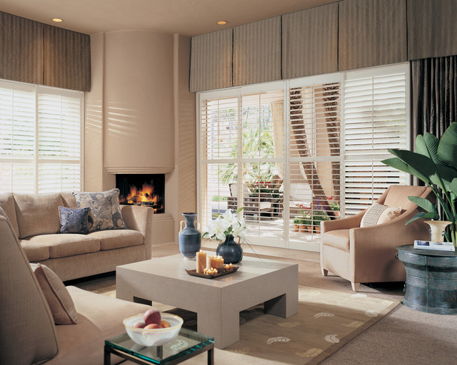 White Plantation Shutters In Large Living Room Window Transitional Living