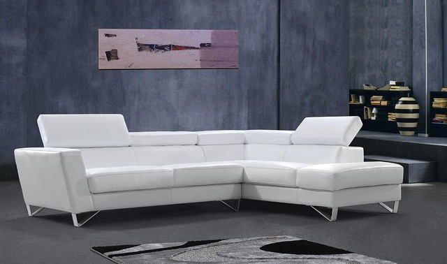 White Sectional Sofa With Adjustable Headrests Modern