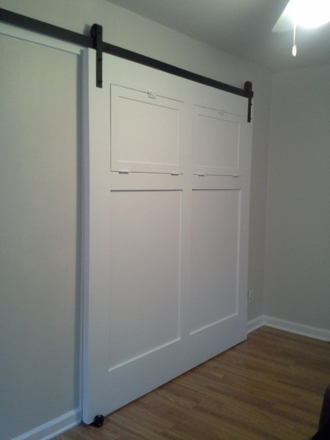 White sliding interior barn door contemporary living for Barn doors for interior rooms