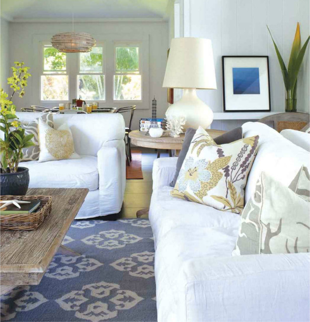 Beach Style Living Room Chairs: White Slipcovers For Beach House