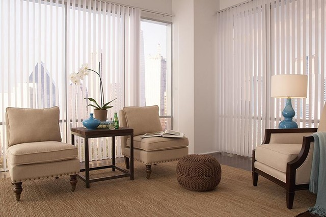 White Vertical Blinds Lafayette Discoveries Living Room
