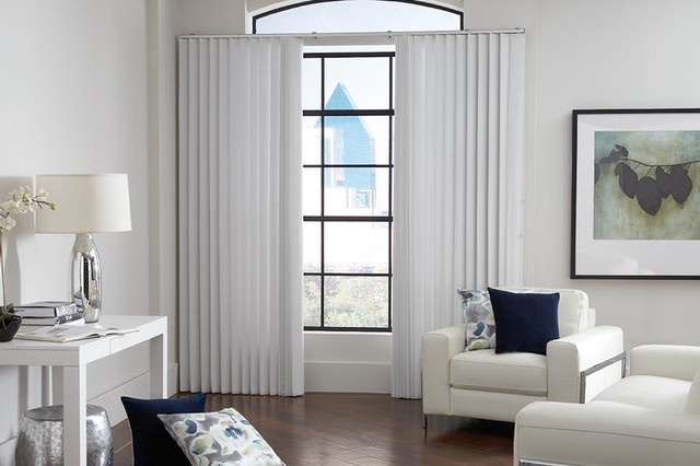 White vertical blinds lafayette sheervisions white for Living room vertical blinds
