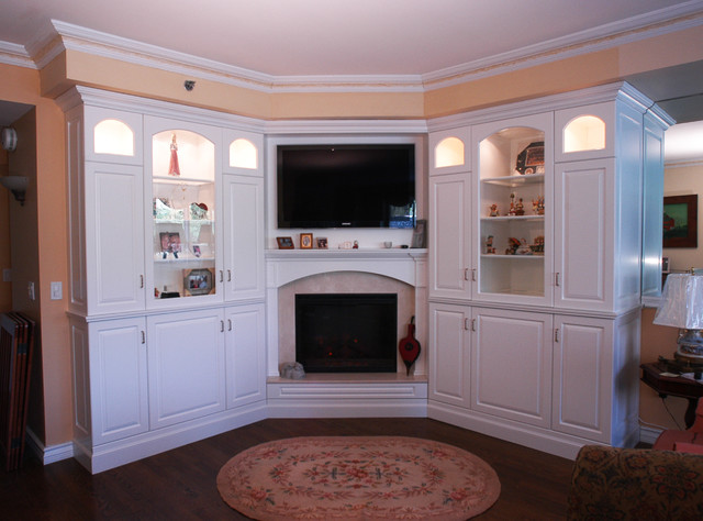 White Wall Unit Traditional Living Room
