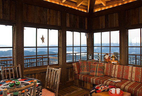 Whitefish Family Lookout Tower Rustic Living Room