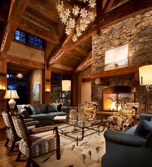 Cozy Rustic Living Room Fireplaces: Whitefish Yacht Club Residence