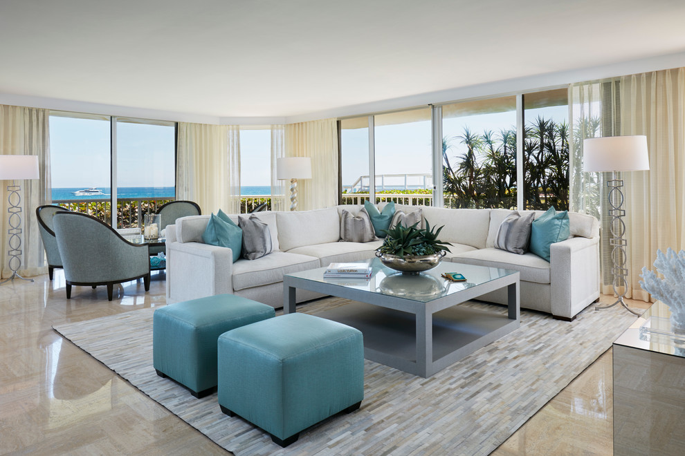 Living room - transitional open concept living room idea in Miami