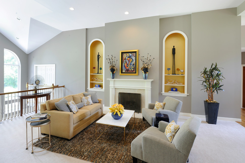 Living room - mid-sized transitional formal and open concept carpeted living room idea in St Louis with gray walls, a standard fireplace, a tile fireplace and no tv