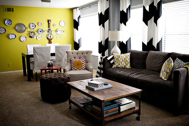 Wide b w chevron curtains acid green plate wall eclectic living room los angeles by for Chevron curtains in living room