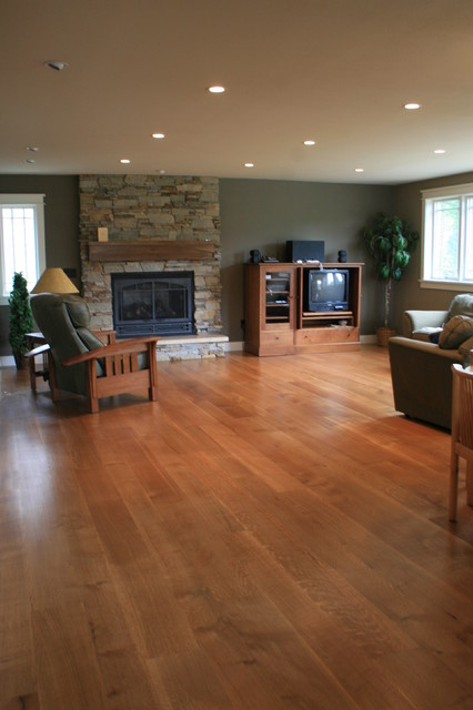 Wide Plank White Oak Floor Transitional Living Room