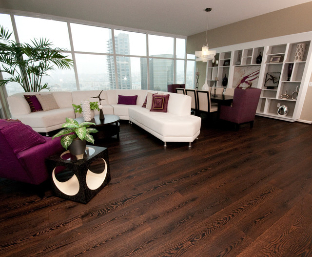 Wide plank wood floors in living rooms contemporary for Modern living room hardwood floors