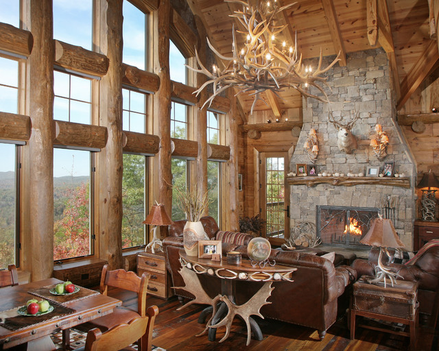 Wild Turkey Lodge Great Room Entry Hall Rustic Living