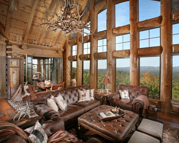 Wild turkey lodge traditional living room atlanta for Modern rustic home plans