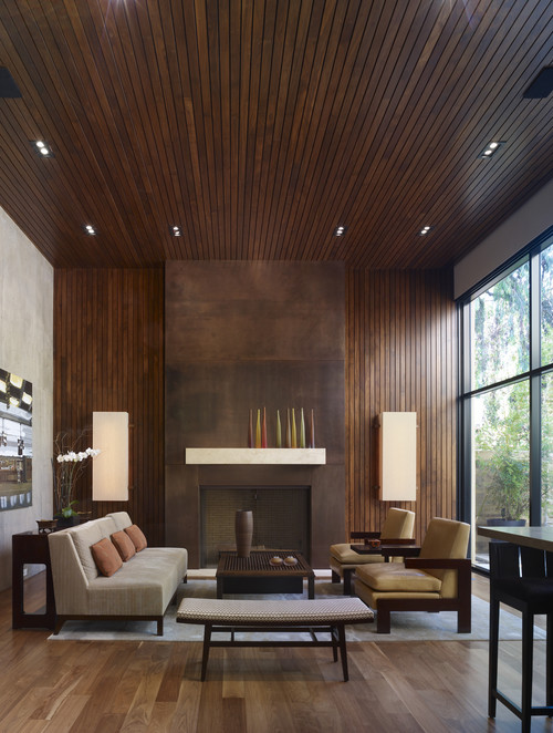 Designing home thoughts on mixing wood tones for Living room designs with dark hardwood floors