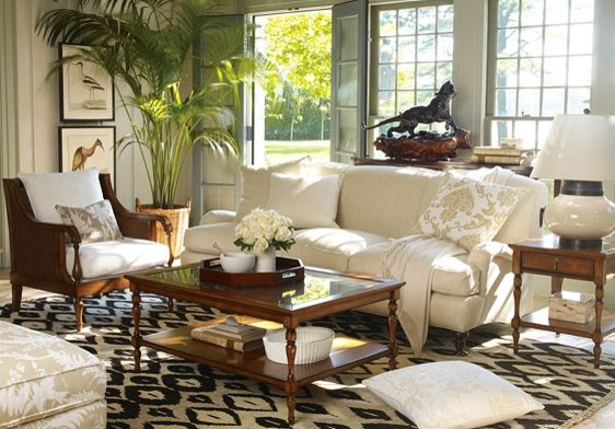 williams sonoma home spring 2009 british colonial tropical living room by williams sonoma home. Black Bedroom Furniture Sets. Home Design Ideas