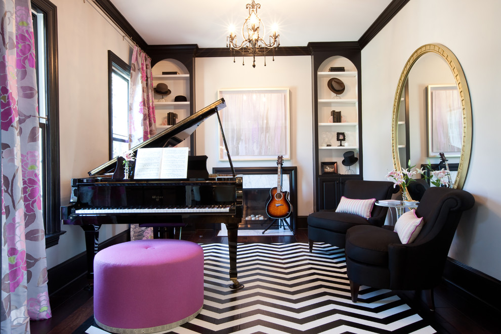 Mid-sized eclectic enclosed black floor and dark wood floor living room photo in Baltimore with a music area, white walls, a standard fireplace and no tv