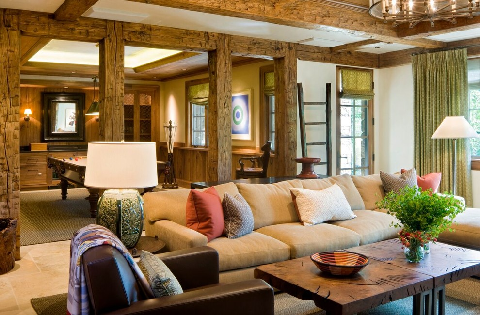 Living room - large craftsman formal and open concept medium tone wood floor and beige floor living room idea in Denver with white walls, a standard fireplace, a stone fireplace and no tv