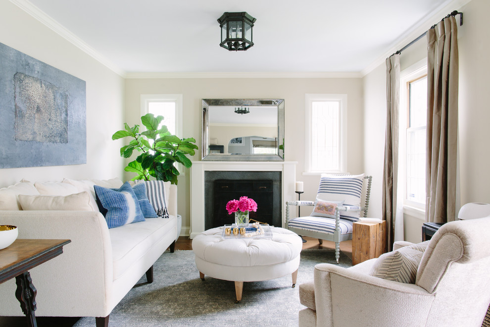Beach style living room curtain in Chicago with beige walls, a standard fireplace and no tv.