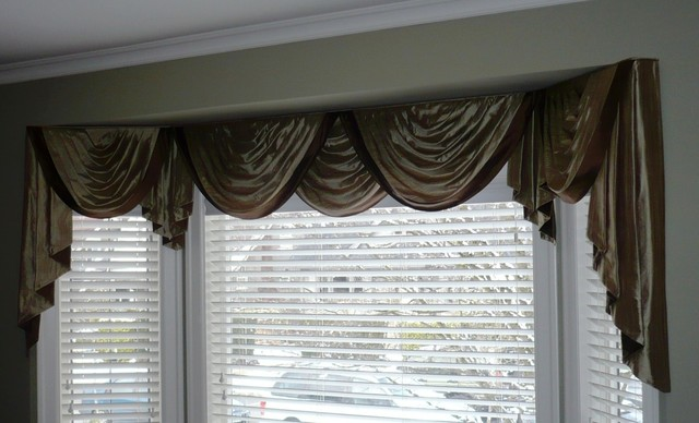 Window Coverings Swags And Jabots Valance Traditional Living Room Van