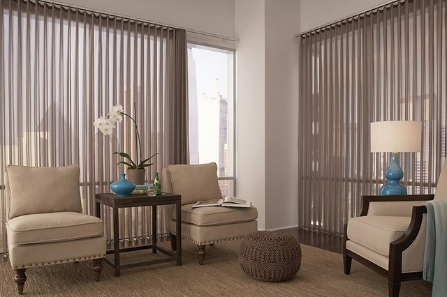 Window treatment ideas vertical blinds modern living room denver by windows dressed up for Contemporary window treatments for living room