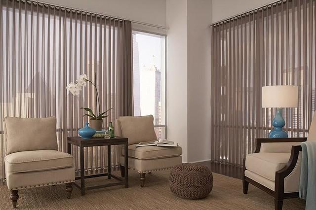 Window treatment ideas vertical blinds modern living - Window treatment ideas for living room ...