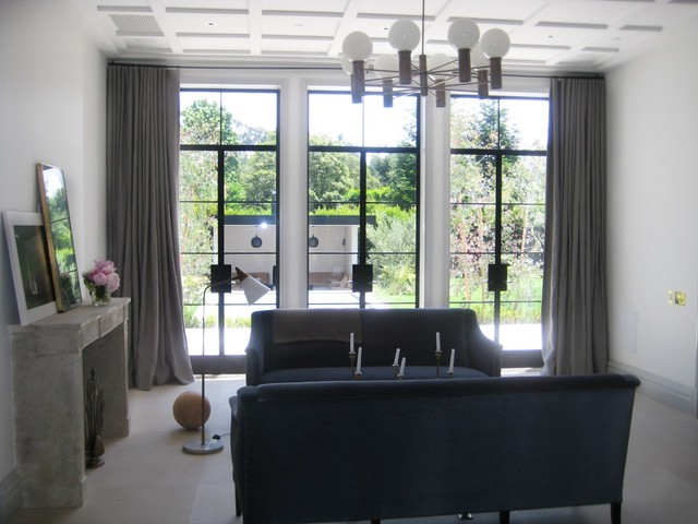 window treatments modern living room los angeles by draperies by walter