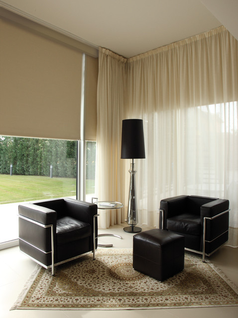 Window treatments modern living room miami by kathryn interiors inc for Contemporary window treatments for living room