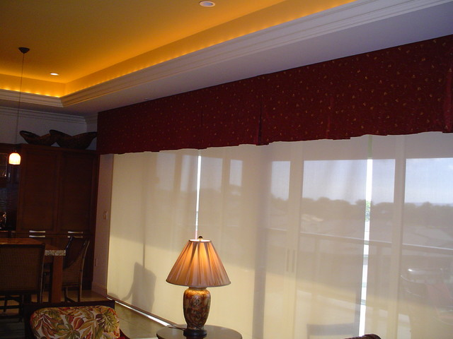 window treatments motorized sun shades with tropical