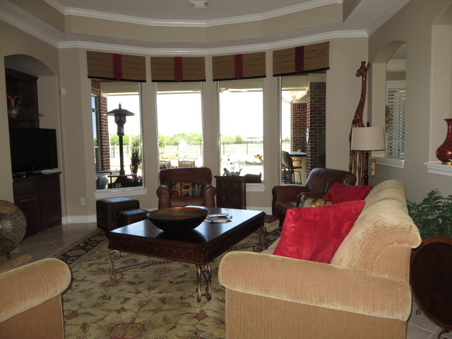 Window Treatments Traditional Living Room Houston By Rooms By Roxanne