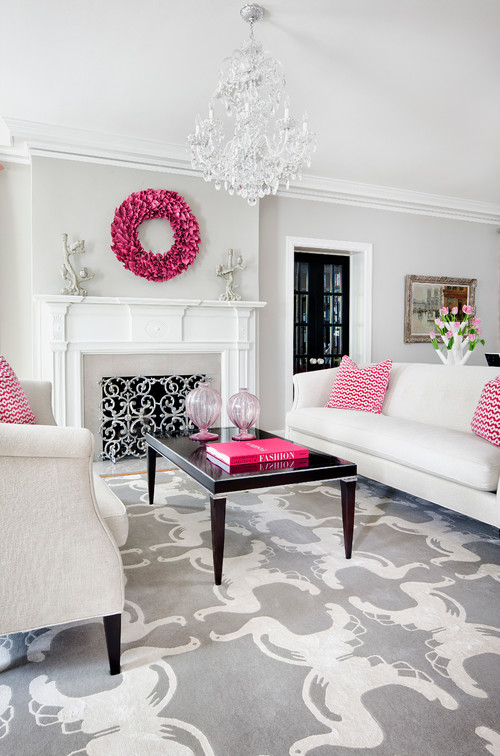 transitional living room Color of the Month: Decorating with Pink