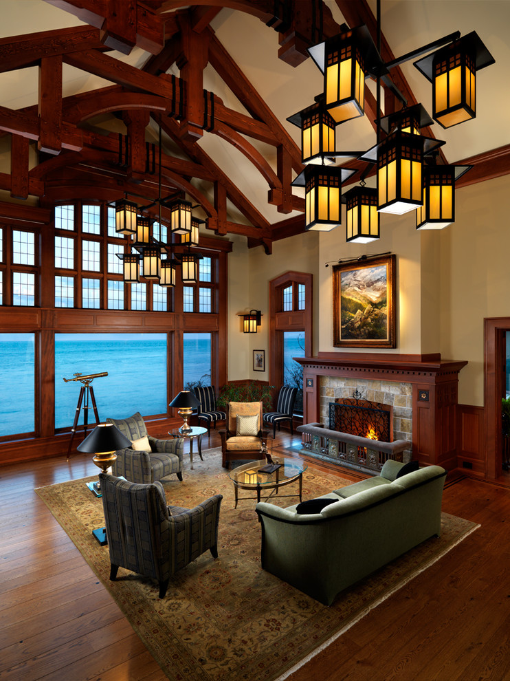 Living room - large craftsman living room idea in Vancouver