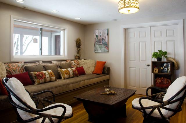 Wine Bar And Sitting Room Farmhouse Living Room