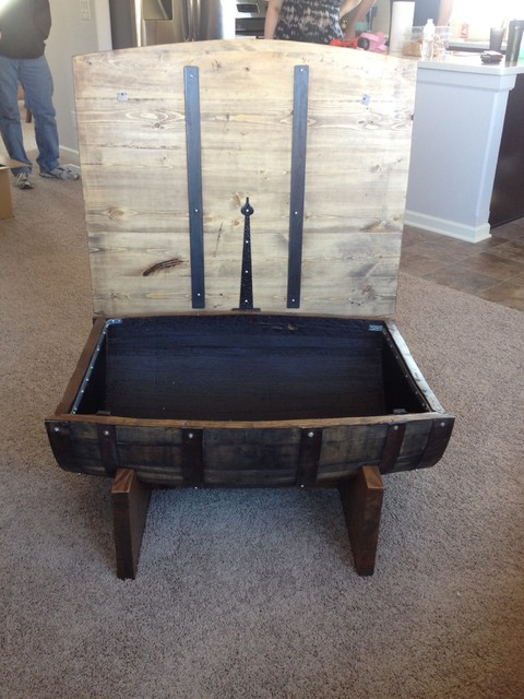 Wine Whiskey Barrel Coffee Table Rustic Living Room