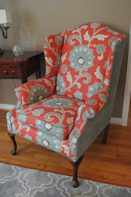fabric chairs living room wingback chair makeover transitional living room 16917