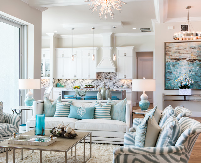 Winterberry Model Living Room beach-style-living-room