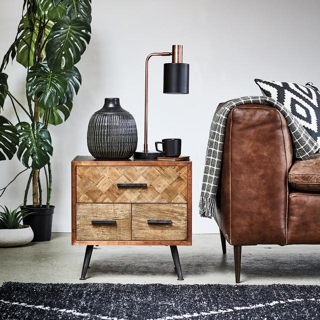 Wonder Years | Keeler Reclaimed Wood and Metal 3 Drawer Side Table rustic-living-room