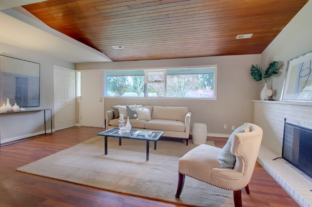 Wood bean ceiling modern living room seattle by for Room design kapiti