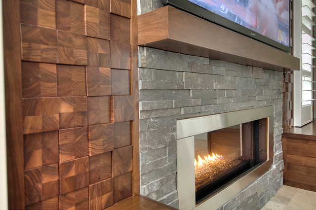 Wood Cobble Stone Wall Contemporary Living Room Part 81