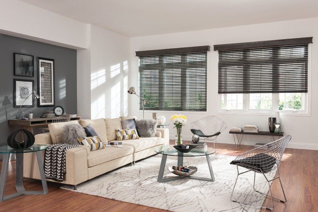 Wood faux wood and fabric blinds contemporary living for Living room with blinds