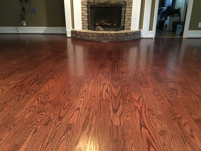 Wood floors 4 inch red oak hardwood red mahogany stain for Hardwood flooring 4 inch