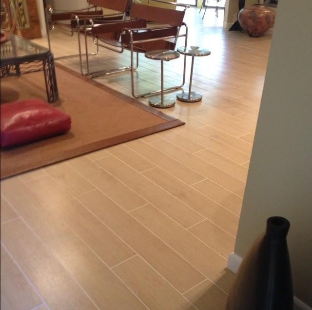 Wood Look Tile Floor Contemporary Living Room Miami