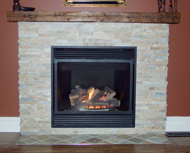 Wood Mantel Stone Fireplace traditional-living-room