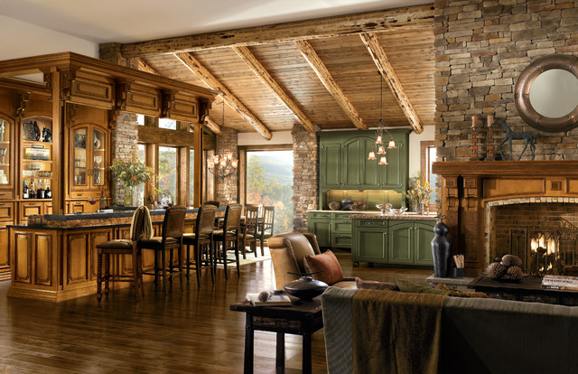 Wood Mode/Brookhaven Living Room Rustic Living Room Idea