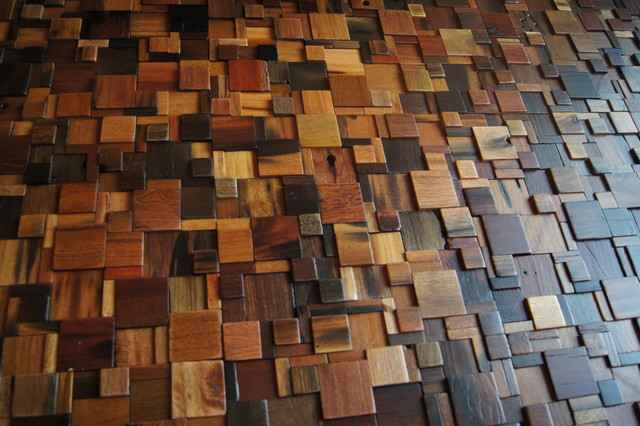 Wood Mosaics - Living Room - Minneapolis - by Home Tile Design