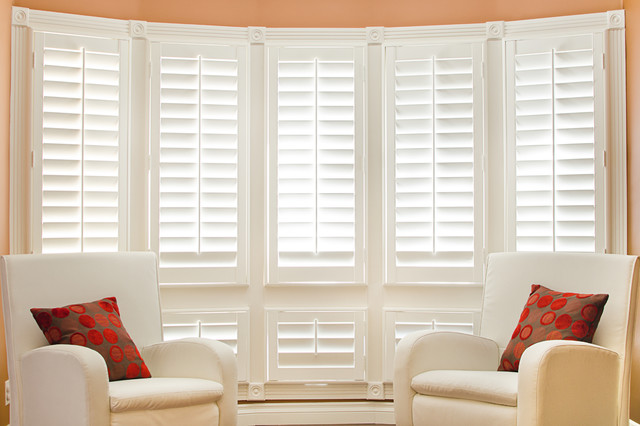 Wood Plantation Shutters Contemporary Living Room